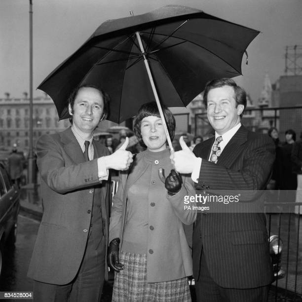 A sunny outlook even under London's rain clouds for byelection victors Nigel Forman left and David Hunt at Westminster today to take their seats in...