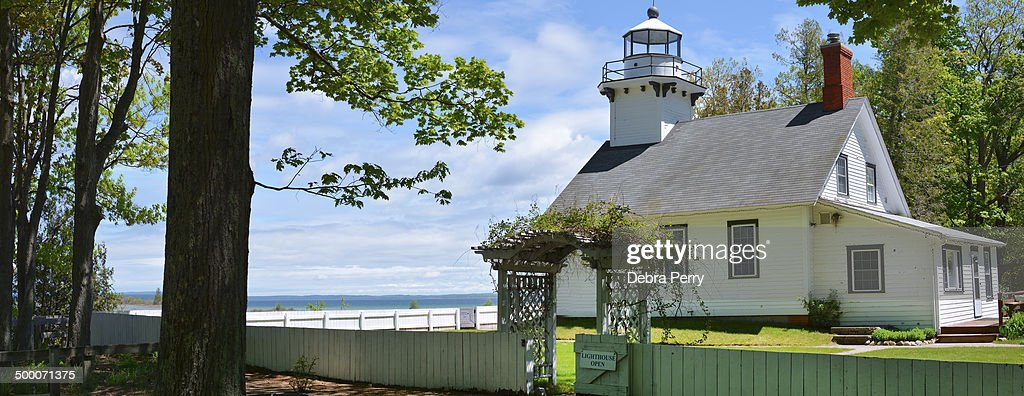 CONTENT] A sunny panoramic view of Mission Point Lighthouse located at the end of Old Mission Peninsula Built in 1870 it is open to the public for...