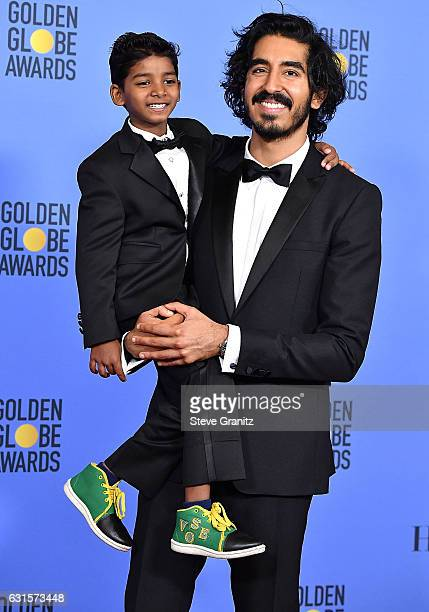 Sunny Pawar Dev Patel poses at the 74th Annual Golden Globe Awards at The Beverly Hilton Hotel on January 8 2017 in Beverly Hills California