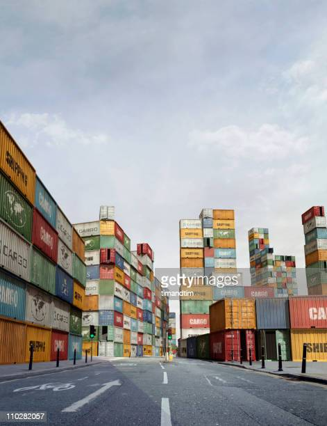 Sunny street in a city of cargo containers