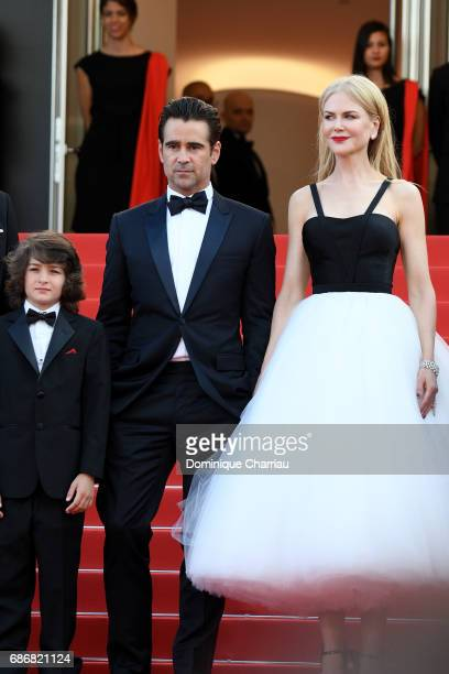 Sunny Suljic Colin Farrell and Nicole Kidman attend 'The Killing Of A Sacred Deer' premiere during the 70th annual Cannes Film Festival at Palais des...