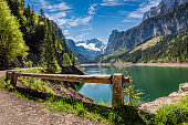 Sunny sunrise at Gosausee lake in Gosau, Alps, Austria