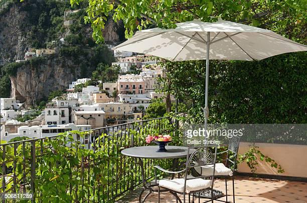 Sunny terrace overlooking Positano, Italy
