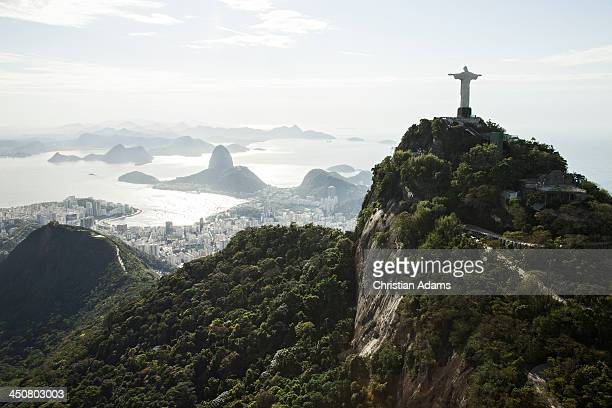 Sunny view onto Corcovado and Sugarloaf