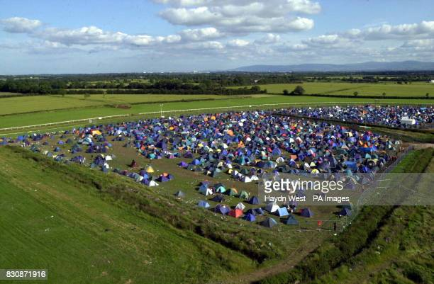 Sunny weather over the campsite at Witnness rock festival Fairyhouse North of Dublin Republic of Ireland where over 80 acts wil perform over two days...