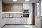 Computer generated image of modern beautiful white domestic kitchen