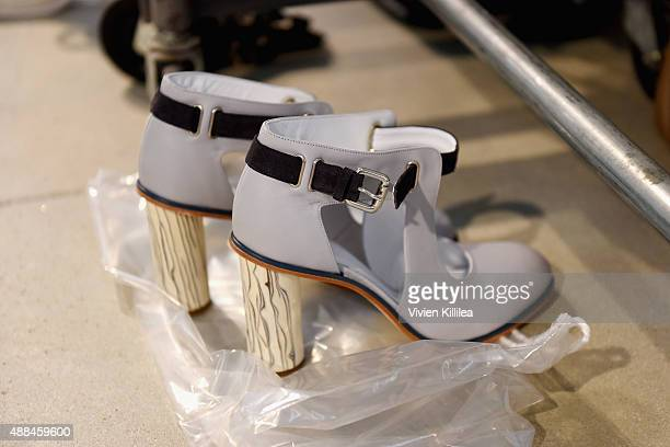 Suno shoes seen backstage at Suno Spring 2016 during New York Fashion Week The Shows at The Gallery Skylight at Clarkson Sq on September 16 2015 in...