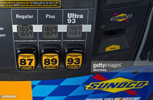 Sunoco gas prices are displayed on a pump at a Stripes convenience store in Corpus Christi Texas US on Thursday Jan 7 2016 Crude oil slid Thursday to...