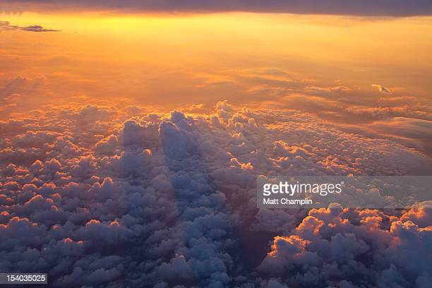 Sunrise and Puffy Clouds from Jumbo Jet