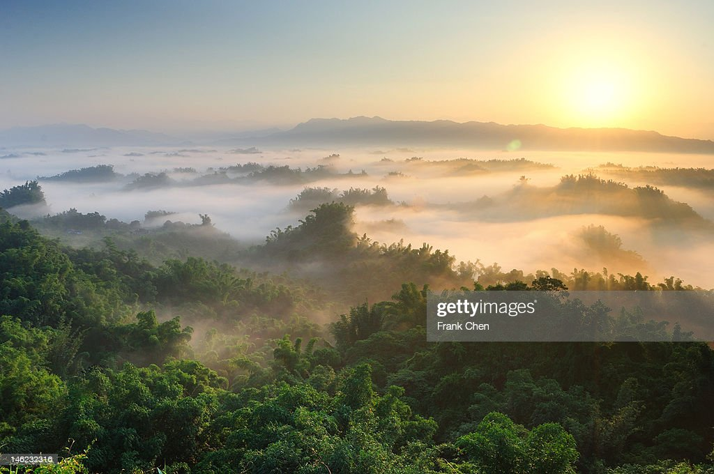 Sunrise and sea of clouds : Stock Photo