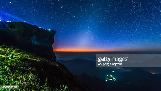 sunrise and star in Phu Chi Fa, Chiang Rai Province, Thailand