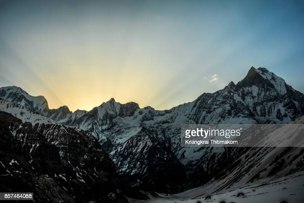 Sunrise at Annapurna Base Camp in Nepal.