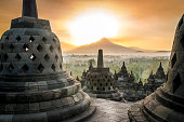 Sunrise at Borobudur temple on Java island, Indonesia