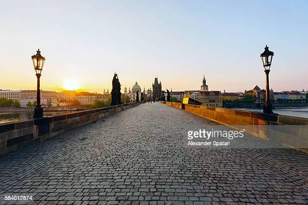 Sunrise at Charles Bridge in Prague, Czech Republic