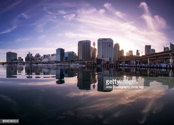 Sunrise at Darling Harbour in Sydney, New South Wales, Australia
