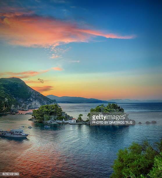 Sunrise  at islet of Virgin Mary at Parga