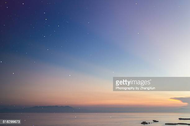 Sunrise at Okinawa with stars