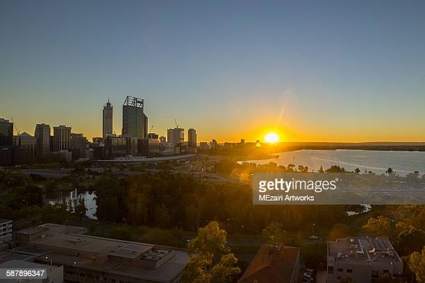 Sunrise at Perth CBD, Western Australia