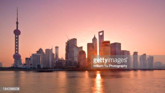 Sunrise at Pudong, Shanghai : Stock Photo