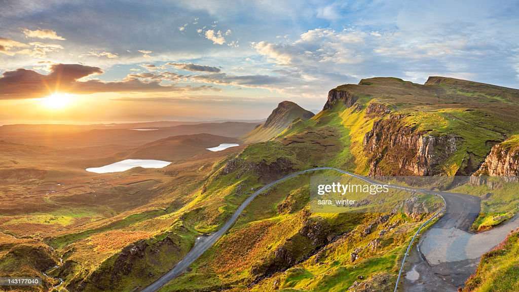 sunrisat quiraing isle of skye schottland stock foto getty images. Black Bedroom Furniture Sets. Home Design Ideas