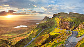 Beautiful light at Quiraing, Isle of Skye, Scotland. A seamlessly stitched panoramic image.
