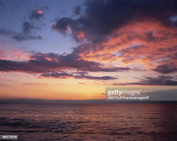 Sunrise at Shonan seashore. Odawara, Kanagawa Prefecture, Japan