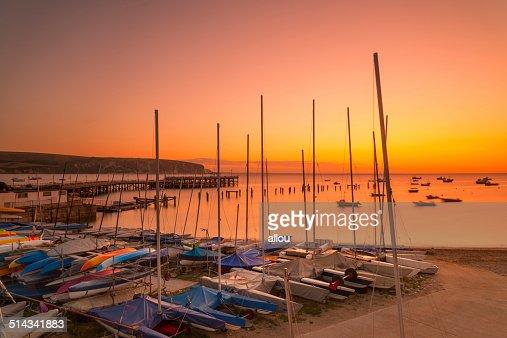 Sunrise at Swanage Bay : Stock Photo