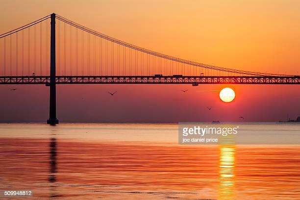 Sunrise at the 25 de Abril Bridge, Ponte 25 de Abril, Belem, Lisbon, Portugal