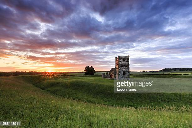 Sunrise at the ruins of Knowlton Church in Dorset