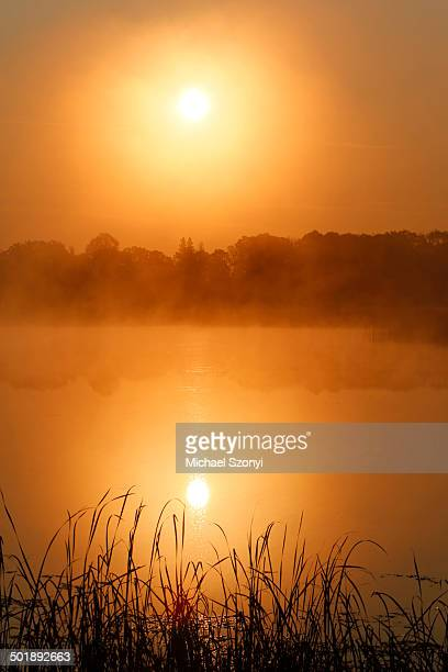 Sunrise, autumn fog over Big Rock Lake near Detroit Lakes, Minnesota, USA