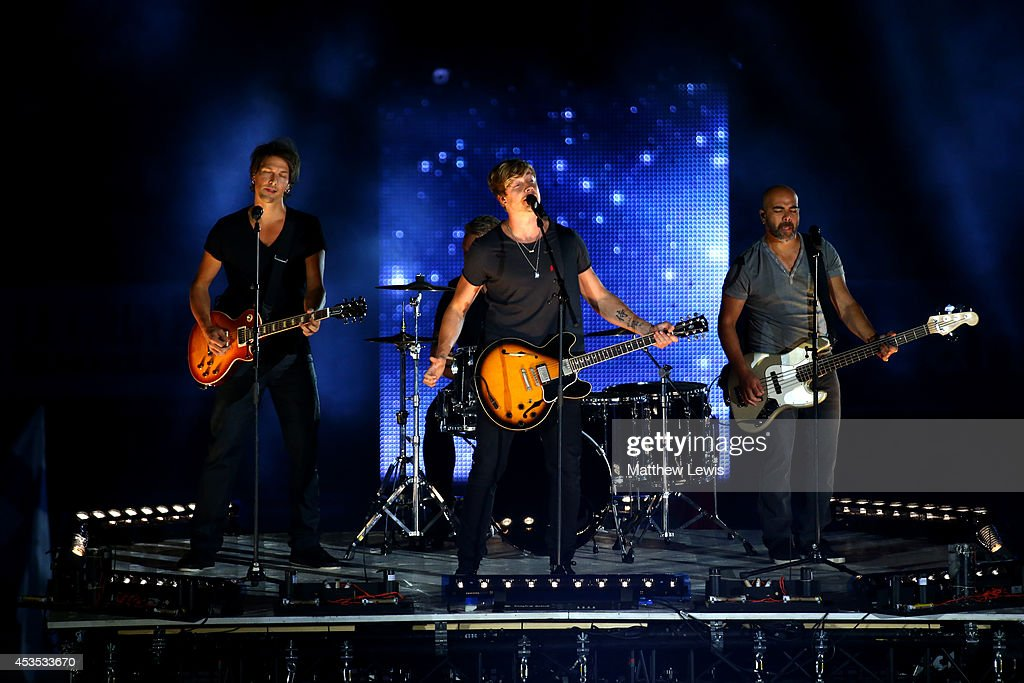Sunrise Avenue perform at the opening ceremony during day one of the 22nd European Athletics Championships at Stadium Letzigrund on August 12, 2014 in Zurich, Switzerland.