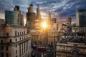 Sunrise behind the City of London, United Kingdom