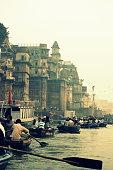 Sunrise boat trips on the river Ganges