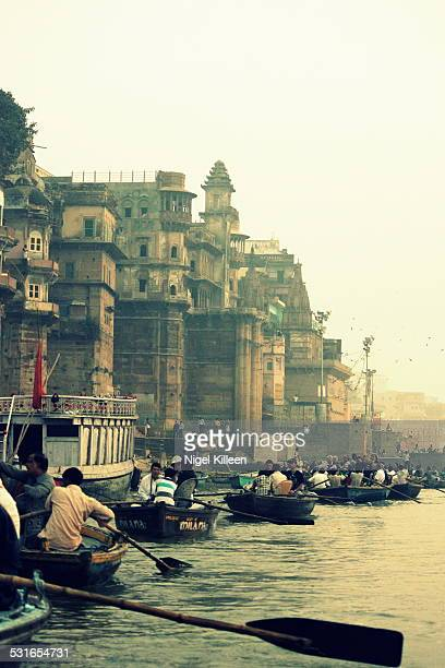 Sunrise boat trips on the river Ganges