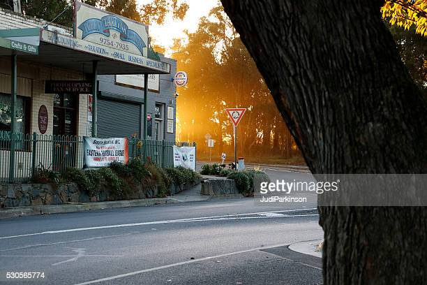 Sunrise Breaking Behind Small Country Shopping Centre
