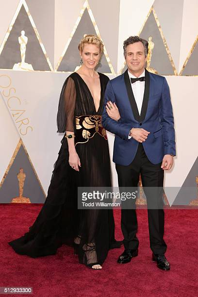Sunrise Coigney and actor Mark Ruffalo attend the 88th Annual Academy Awards at Hollywood Highland Center on February 28 2016 in Hollywood California
