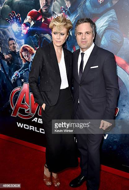 Sunrise Coigney and actor Mark Ruffalo attend the premiere of Marvel's 'Avengers Age Of Ultron' at Dolby Theatre on April 13 2015 in Hollywood...