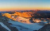 Sunrise at Mountain Peak Hochkönig in Alps