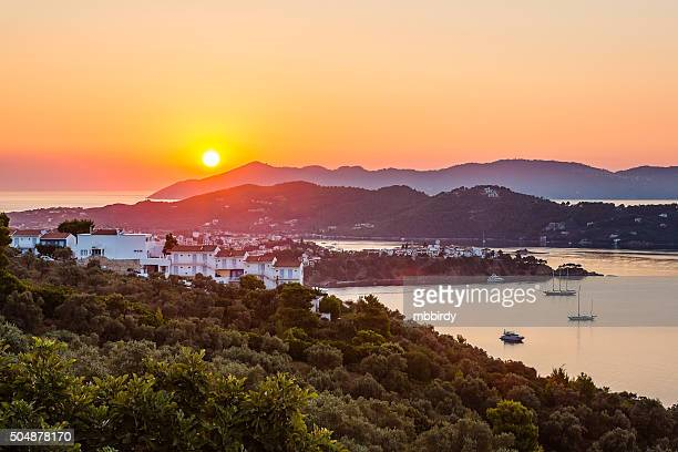 Sunrise from Skiathos town, Skiathos island, Greece