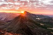 A beautiful sunrise from Wetterhorn Peak in the San Juan Range of the Colorado Rockies
