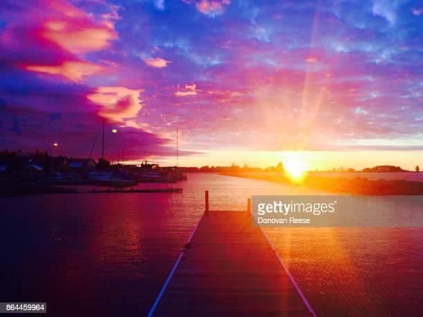 Sunrise.  Grand Marais harbor Minnesota