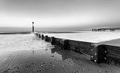 Long exposure of sea waves at Boscombe beach, Bournemouth, Dorset, UK.