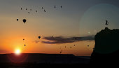 peace,holiday and healthy; Sunrise in Cappadocia and balloons