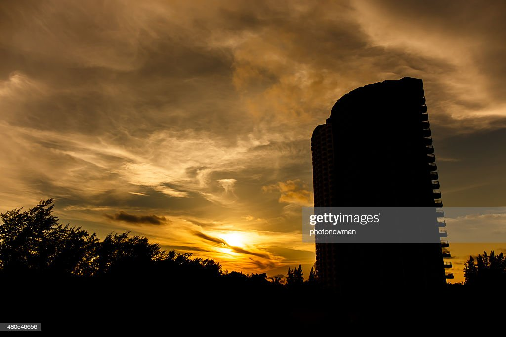 Sunrise in front of the building : Stock Photo