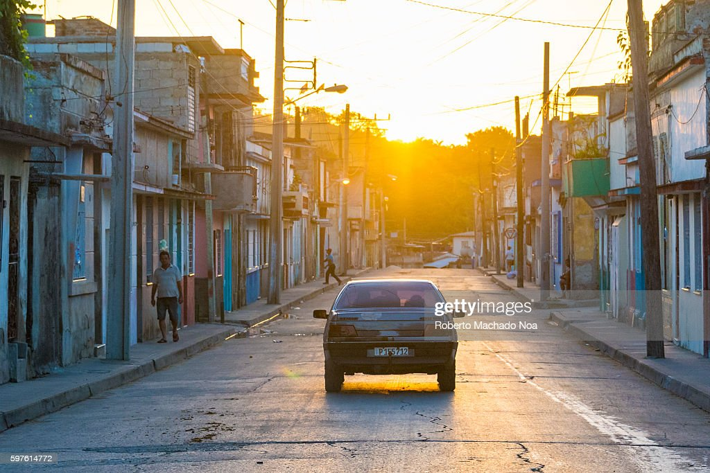 Sunrise in Nazareno street as the city wakes up to a new day of work Cuban lifestyle or way of life