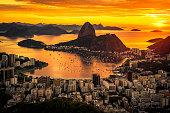 Beautiful Warm Sunrise in Rio de Janeiro With the Sugarloaf Mountain Silhouette.