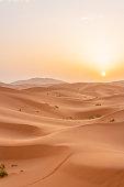 Sunrise in the Sahara desert.