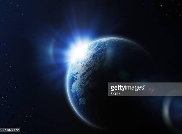 Lever du soleil dans l'espace