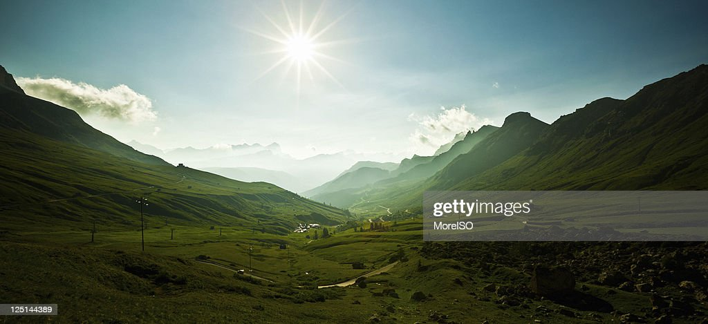 Sunrise in the Alps, Pordoi Pass, Dolomites Mountain Landscape, Italy