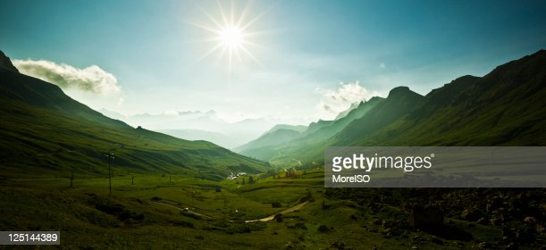 Sunrise in the Alps, Pordoi Pass, Dolomites Mountain Landscape, Italy : Stock Photo